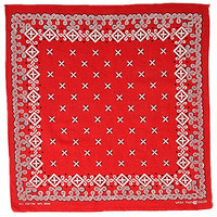 Vintage 70s Red TIGER Wash Fast Color Bandana 1970s Rockabilly Work Wear Handkerchief Cotton Geometric Stars Western Engineer Scarf