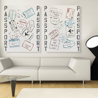 Large Wall Art Travel Inspired Original Passport Stamp Decor on Canvas
