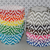 Chevron cupcake liners  - 60 count - baking cups muffin cups standard size grease proof cupcake cups cupcake wrappers  - YOU PICK COLORS