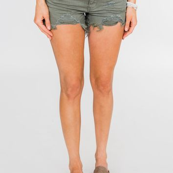 C'est Toi Distressed Shorts- Moss