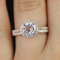 Kubian Original Size 14kt Rose Gold Round Morganite and Diamonds Halo Wedding Set (Other metals and stone options available)