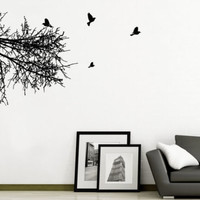 Wall Decal Vinyl Bedroom Nursery Office Dorm Branch Birds Trees Forest r1393