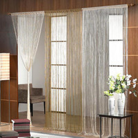 white with silver metallic thread curtain