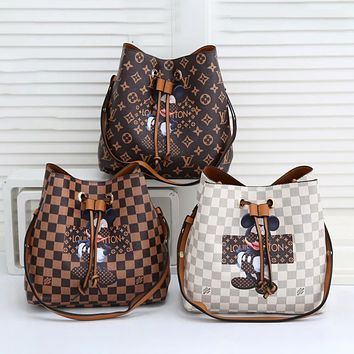 Louis Vuitton LV new cartoon cute Mickey Mouse wild one-shoulder messenger bucket bag