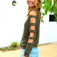 Green Khaki Knit Sweater with Cutout Long Sleeve Arms