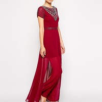 Frock and Frill Maxi Dress With Jeweled Neck