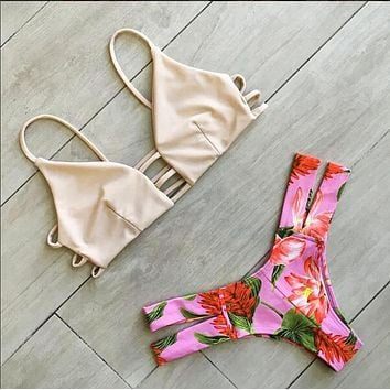 Print Backless Strap Bikini Set Swimsuit Swimwear