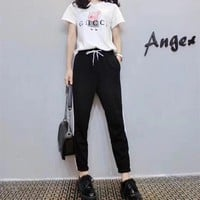 """Gucci x Peppa Pig"" Women Casual Fashion Cartoon Letter Print Short Sleeve T-shirt Trousers Set Two-Piece Sportswear"
