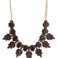 Oxblood Faceted Stone Bib Necklace by Charlotte Russe