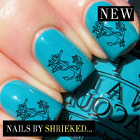 Nail WRAPS Nail Art Water Transfers Decals - Anchor With Flowers