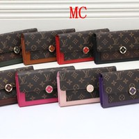 """Louis Vuitton"" Women Fashion Multicolor Print Long Section Folding    Purse Button Flip Wallet Handbag"