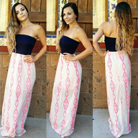 ALL ABOUT AZTEC STRAPLESS MAXI DRESS