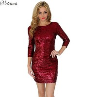 2016 New Style Summer Dress Women O Neck Long Sleeve paillette Sequins Backless Bodycon Slim Pencil Party Dresses