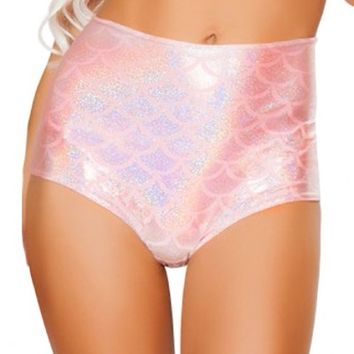 Swim Top - Mermaid in Love Mermaid Scale High Waist Swim Bottom in Pink