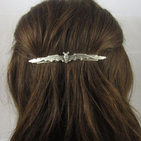 Bat Barrette- French Slide Barrette- Silver Barrette- Bat Hair Clip- Slide Barrette- Bat Accessory