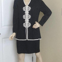 1980s Plaza South Petites Black & White Dress with Braid and Knots Trim, Size 12, UNWORN, Vintage Clothing, 1980s Fashion, 2 Piece Look