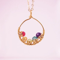 14K Gold Mother's Necklace with Birthstones, Grandmother's Necklace, Mother of the bride & Groom gift, Mother's Day Gift, Gift Idea