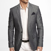 BLUE LINEN-COTTON BLAZER