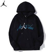 Jordan Autumn And Winter Fashion New  Bust Embroidery People Leisure Hooded Long Sleeve Sweater Black