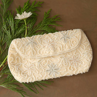 Vintage Walborg Hand Beaded Satin Clutch in Antique White with Pearl and Silver Beads Made in Belgium