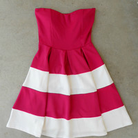 Swing & Stripe Dress in Fuchsia [5232] - $42.00 : Vintage Inspired Clothing & Affordable Dresses, deloom | Modern. Vintage. Crafted.