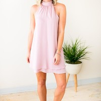Haute to Trot Halter Neck  Layered Dress - Rose