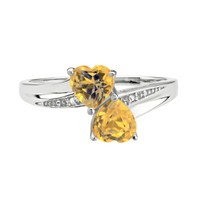 Citrine Double Heart and Diamond Sterling Silver Birthstone Ring - ...