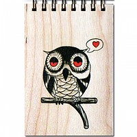 Wood Notepad Owl Love Small
