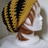 Copley hat in Hufflepuff yellow and black -- slouchy