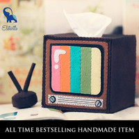 Handmade Vintage TV Set with Antenna Tissue Holder [DIY Kit OR Finished Item]