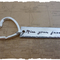 Long Distance Relationship Key Chain  I Miss your face  LDR  Long Distance Love best friends going away gift for him ldrship FEMALE VERSION