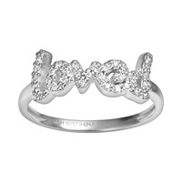 Sophie Miller Sterling Silver Cubic Zirconia ''Loved'' Ring (White)