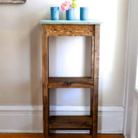 The Levy - Pine Side Table with Two Bottom Shelves - Bookcase / Bookshelf