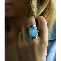 New inlaid colorful moonstone ring exaggerated imitation Thai silver retro epoxy ring