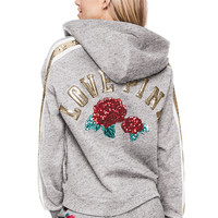 Bling Lace-Up Hoodie - PINK - Victoria's Secret