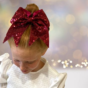 Sequin Cheer Bow Bundle, Girls Sequin Cheerleader Bow Pony Bundle 6 pack