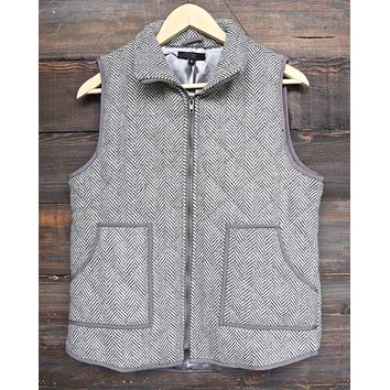 Final Sale - Herringbone Quilted Puffer Vest in Grey