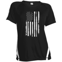"""Hanging Flag"" Ladies Colorblock Polyester Tshirt"