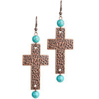 Women's J West and Company Hammered Copper Cross Earrings