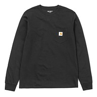Long Sleeve Pocket Tee in Black