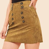 Jbellan 90s Pocket Pocket Double Breasted Suede Skirt
