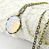 White Opal Necklace, Small Fire Opal Necklace, Glass Pinfire Opal Necklace, Opal Pendant, Antiqued Brass Pendant Necklace, Vintage Jewelry