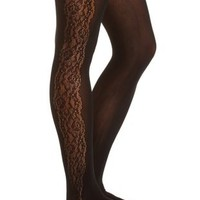 Lace & Nylon Tights by Charlotte Russe - Black