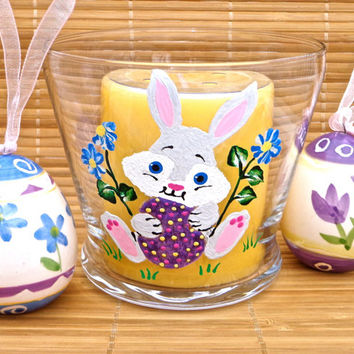 Painted Easter Candle Holder With Easter Bunny, Easter Decoration, Painted Candle Holder, Easter Gifts, Gifts For Her
