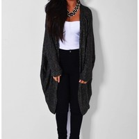 Ultimo Charcoal Black Metallic Cocoon Cardigan | Pink Boutique