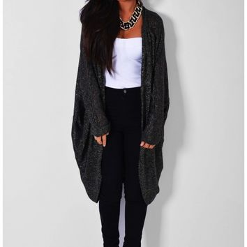 Ultimo Charcoal Black Metallic Cocoon Cardigan   Pink Boutique