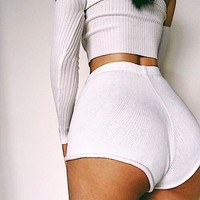 Fashion Solid Color High Waist Sweatpants Shorts Women Ultrashort Hot Pants