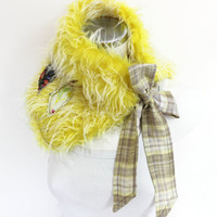 Fur neck warmers, Yellow fur collar, Yellow neck warm faux fur, Plaid ribbon fur, Faux fur collar, Appliqué trim collar, Yellow neck warmer
