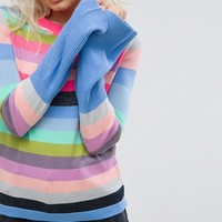 ASOS PETITE Sweater With Multi Stripe and Fluted Sleeves at asos.com