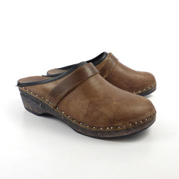 Wooden Clogs Shoes Vintage 1980s Bastad Sweden Swedish Olive Brown Leather Size 37